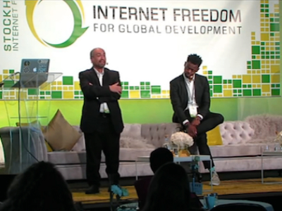 Walid Al-Saqaf (left) and TMS Ruge on stage at the Stockholm Internet Forum